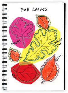Tissue Paper Fall Leaves in the art journal with metallic sharpie drawings