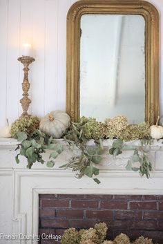 Elegant and natural autumn mantel decor - FRENCH COUNTRY COTTAGE