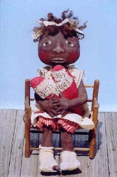 Primitive pattern Bless Yo'r Heart Little black child with a heart