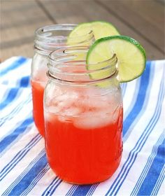 Strawberry Vodka Lime Coolers & Fourth of July Drinks