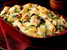 Creamy Zucchini & Spinach Rigatoni Recipe. Supper tonight. Yummy! (Could really add any veggies you wanted!)