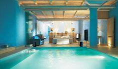 mykono, swimming pools, blue bedrooms, master bedrooms, resort, dream bedrooms, bedroom designs, bedroom interiors, dream rooms