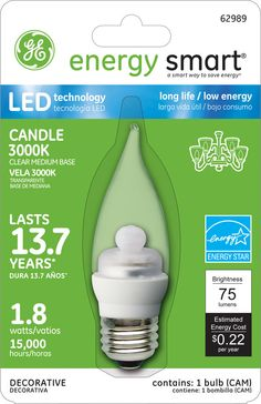 GE Energy Smart 10W Replacement (1.8W) Candle CA11 LED Bulb (Warm, Clear, E26) $19.95