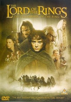 """The Lord of the Rings: The Fellowship of the Ring (2001) directed by Peter Jackson, based on the novel by J. R. R. Tolkien, starring Elijah Wood, Sean Astin, Ian McKellen, Billy Boyd, Dominic Monaghan, Viggo Mortensen, Liv Tyler, Orlando Bloom, John Rhys-Davies, Sean Bean, Andy Serkis and Christopher Lee. """"An innocent hobbit of The Shire journeys with eight companions to the fires of Mount Doom to destroy the One Ring and the dark lord Sauron forever."""""""