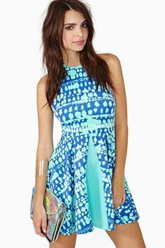 Wave Crush Skater Dress by Nasty Gal
