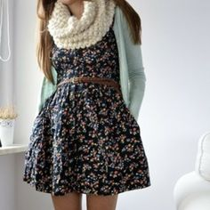 Awesome outfit :) ! Floral print dress, mint green cardigan, and a pretty scruffy knit scarf floral prints, fashion, cloth, style, infinity scarfs, fall outfits, scarves, closet, floral dresses