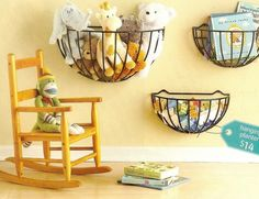 hanging planters for wall storage...great idea for a bathroom for holding bath toys!!