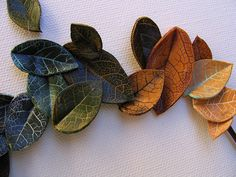 Lumina Clay Leaves - #tutorial.  Process is same for baked polymer clay.