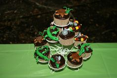 Birthday party cupcakes coral snake lizard reptile gecko turtle tortoise amphibian rocks candy