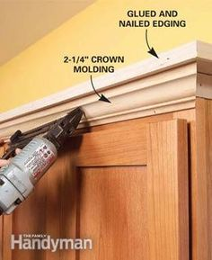 Adding shelf/crown molding above cupboards. Cheap/easy upgrade.