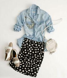 polka dot skirt and chambray