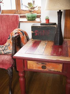 Boat-wood effect: Inspired by reclaimed-wood furniture made from traditional Indonesian fishing boats that have been retired, this four-color finish features multiple layers of paint, so it has texture—a good fit for pieces that aren't in constant use, like an occasional table. | Photo: Daniel Hennessy