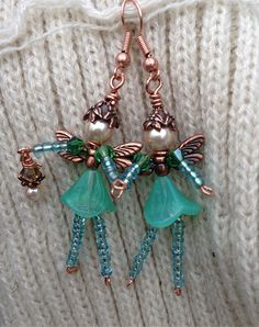 Whimsical Garden FAIRY Beaded EARRINGS:Genuine Swarovski Pearls,Copper Plated Pewter Findings,Antique Copper,Glass Beads,Czech Pressed Glass...