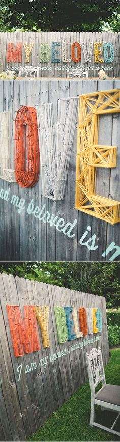 in another life where i have a house with a nice backyard and i care about what the fence looks like. Beatles lyrics would be excellent. nail, craft, idea, weddings, yarn letter, string art, diy, photo backdrops, garden fences