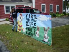 FIRE PREVENTION WEEK BANNER in Barnstable Village on Cape Cod!