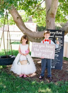wedding bell flower girl + ring bearer // photo by Troy Grover Photographers, view more: http://ruffledblog.com/backyard-california-wedding/
