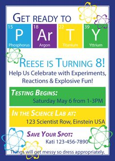Create the perfect party for your little scientist. Throw a science birthday party the easy way with these free printables and ideas. Everything you need to have an explosive scientific birthday bash! Housefulofhandmade.com | Science party ideas | Science themed birthday party | Science party supplies | Elements Birthday Banner | Science Party Invitation | Science Experiments for Kids | Summer Birthday Party Ideas