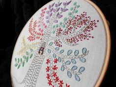myBearpaw: Sampler Tree Embroidery with extra owls