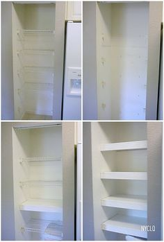 Molding, Paint and MDF to make your closet system look built-in. Cheap and makes it look way better!!