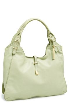 Weekend tote! Adore the gold finishes against the mint leather.