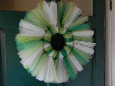 St. Patrick's Day Wreath...got the idea from here: http://thatswhatwesaid.net/2012/01/valentines-day-tulle-wreath/