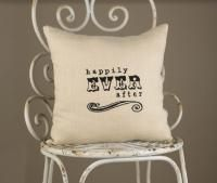 """Happily Ever After Linen Throw Pillow Natural-color linen accent pillow with """"Happily Ever After"""" embroidered in Black Thread Size: 12"""" x..."""