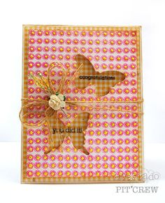 Gorgeous card by Julia Stainton. Julia created the flower pattern paper with ONE stamp, repeating the border image over and over. Simple, clean and easy to create!
