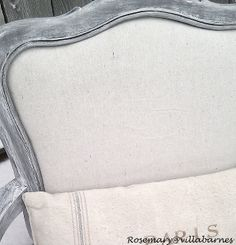 Paint treatment from Villabarnes for weathered gray finish.  She uses gesso in the mix.