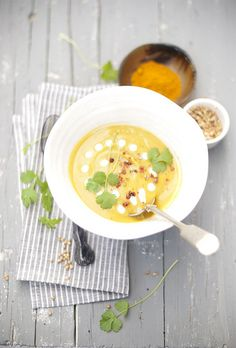 butternut squash, red lentil, cilantro and curry soup