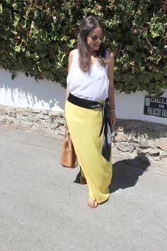 Como hacer falda larga amarilla