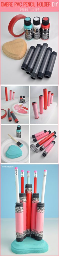 Ombre PVC Pencil Holder DIY craft idea and teacher gift!  www.clubchicacircle.com #multisurface #ad
