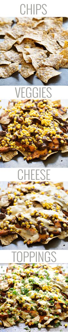 Healthy Grilled Sweet Potato Nachos - multigrain chips, grilled sweet potatoes, black beans, roasted corn, and a lightened up homemade cheese sauce! Holy yum. 300 calories. | pinchofyum.com