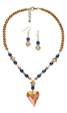 Single-Strand Necklace and Earring Set with SWAROVSKI ELEMENTS, Cultured Freshwater Pearls and Seed Beads - Fire Mountain Gems and Beads