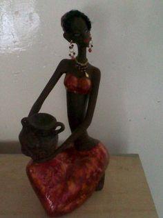 Africana con técnica de tintas