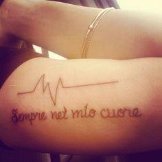 """Forever in my heart"" in italian. & a heartbeat that goes flatline for my dad. #tattoo #italian #formydad"