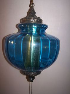 Vintage Mid Century Blue Glass Swag Hanging Lamp Retro Hollywood