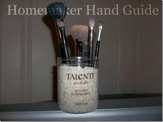 DIY Makeup Brush Holder  (using Talenti Ice Cream container and rice)