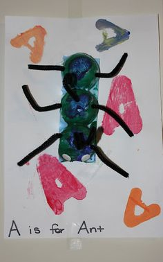 Momma's Fun World: Alphabet Learning....A is for Ant out  of an egg carton