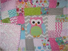 chevron owl  quilt scrappy pink baby quilt girls by quiltcountry