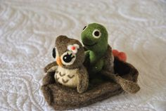 Needle Felted Owl and Turtle in a Row Boat