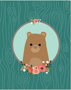 "Bear Art Print by MiniMoons - why not try making a ""framed portrait"" of one of your favorite animals?"