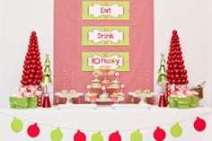 Red and Green Christmas Party Dessert Table #christmas #party #red #green #symmetry #eat #drink #be #merry
