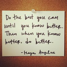Do the best you can until you know better. then when you know better, do better—Maya Angelou: http://intothegloss.com/2013/12/funny-motivational-quotes/