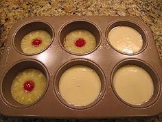 Mini Pineapple Upsidedown Cakes Cake Ingredients: 2 eggs, 2/3 C white sugar,4 T pineapple juice, 2/3 C all purpose flour 1 tsp baking powder, 1/4 tsp salt Topping: 1/2 stick butter, 2/3 C brown sugar, 1-can pineapple rings, 6-maraschino cherries Preheat oven to 350 degrees. Spray tins.