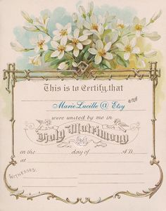 Vintage Keepsake Wedding Certificate