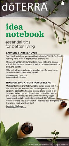 Try these recipes for laundry stain remover made with dōTERRA On Guard Foaming Hand Wash and a moisturizing after shower blend.