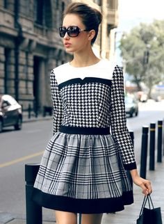 fashion, pattern, style, plaid, black white, long sleev, sleeves, houndstooth, winter dresses