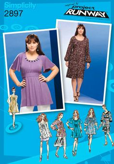 Plus Size TUNIC & DRESS Sewing Pattern - Project Runway Dresses Tops OOP