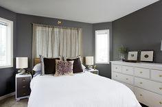 hemnes dresser, bedside tables, grey & white