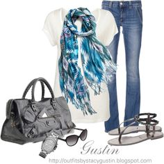 blue scarf by stacy-gustin on Polyvore